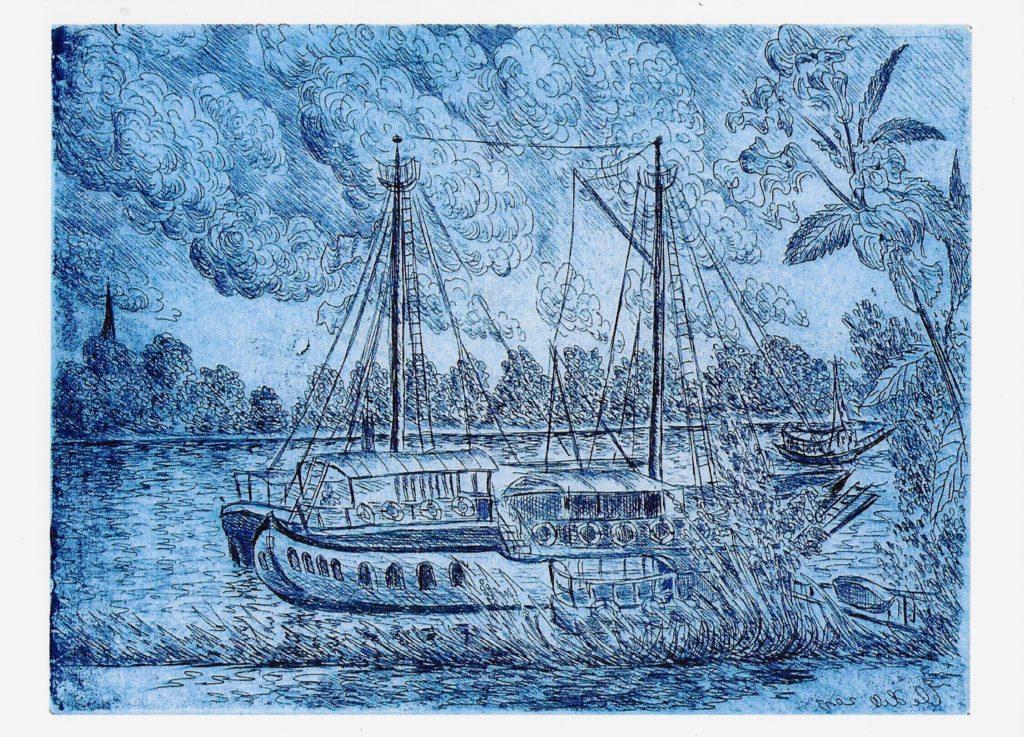 Schiffe an der Fähre von Weiß