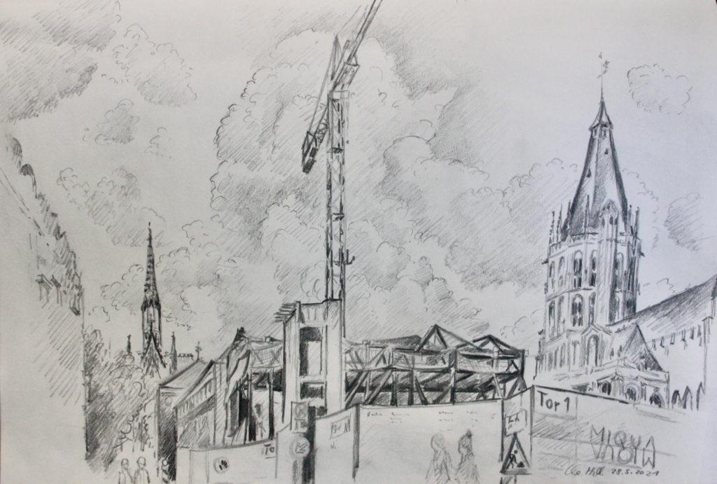 Baustelle MiQua, Jüdisches Museum Köln, Bleistiftzeichnung von Clemens Hillebrand am 28.05. 2021