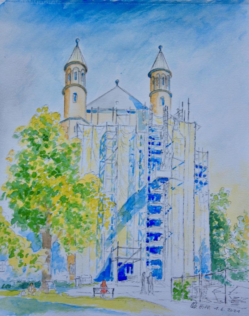 Die eingerüstete romanische Kirche St. Pantaleon in Köln. Aquarell von Clemens Hillebrand am 1.06.2021.