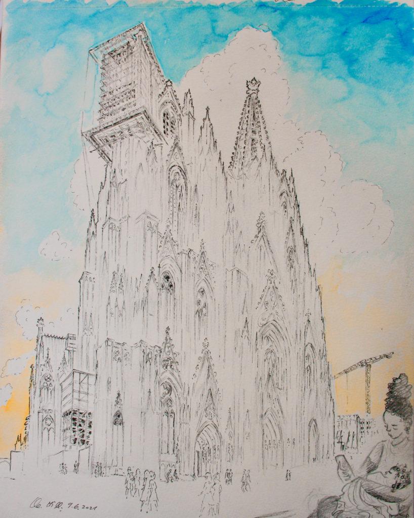 Ewige Baustelle Kölner Dom. Gerüst am Nordturm. Tuschestiftzeichnung und Aquarell von Clemens Hillebrand am 09.06.2021.