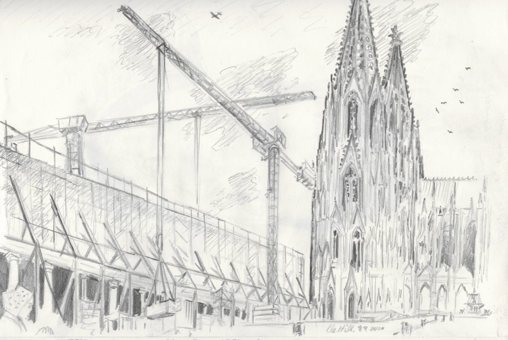 Baustelle Dom Hotel, Bleistiftzeichnung von Clemens Hillebrand am 9.9.2020