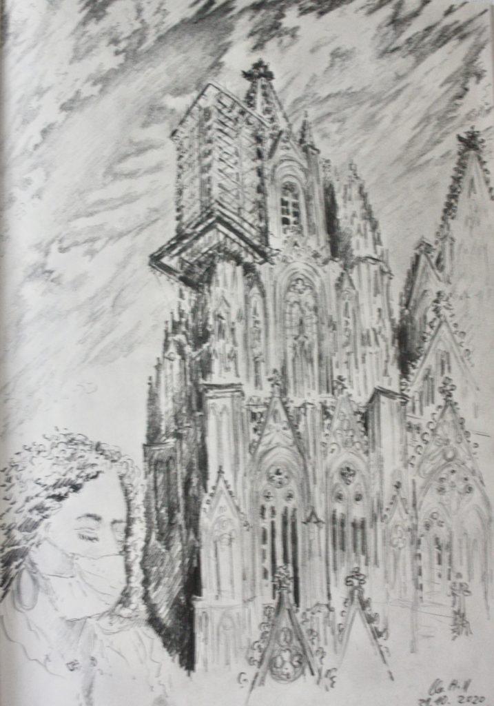 Ewige Baustelle Kölner Dom. Bleistiftzeichnung von Clemens Hillebrand am 21.10 2021. Im Vordergrund ein Studentin aus Spanien.