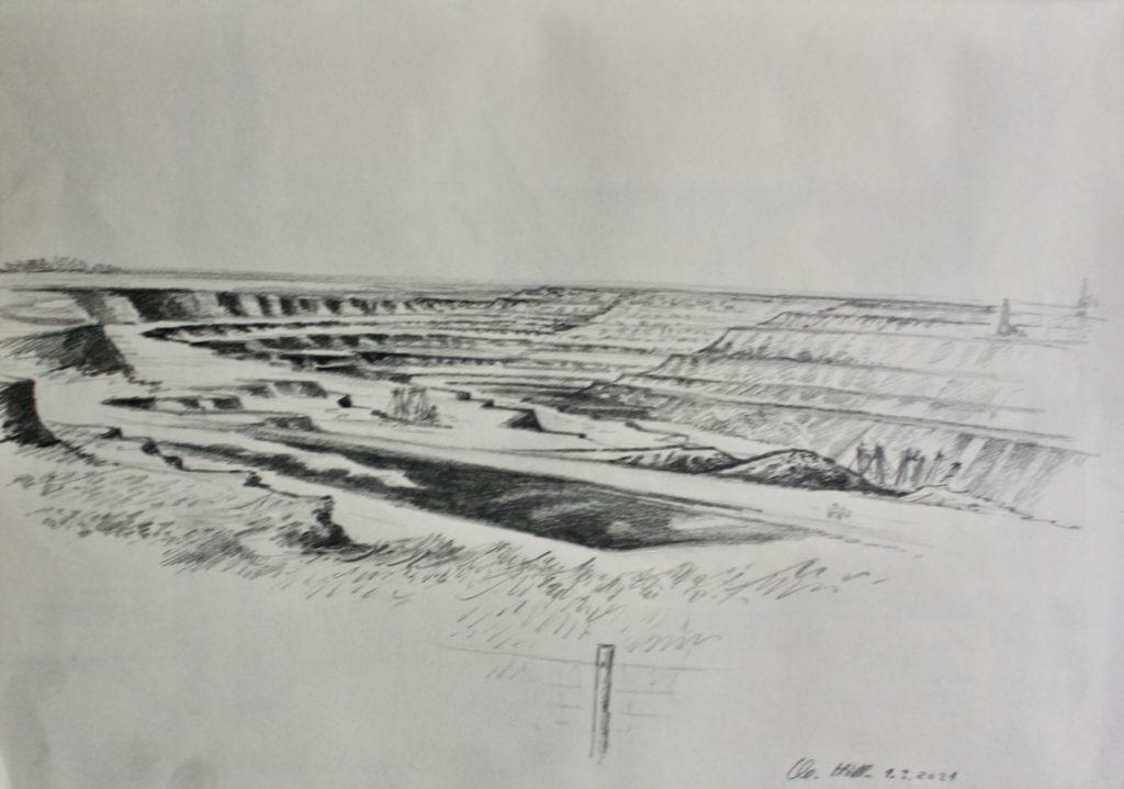 Tagebau Garzweiler vom Skywalk Jackerath aus. Bleistiftzeichnung von Clemens Hillebrand am 04.03.2021